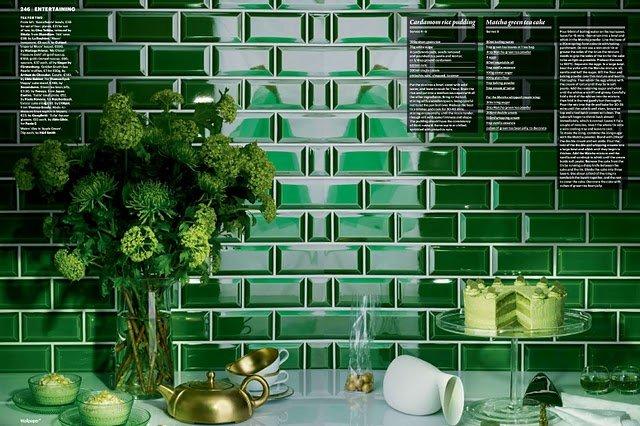 Ribesalbes Verde Botello Bisel Brillo 7 5 X 15 Cm